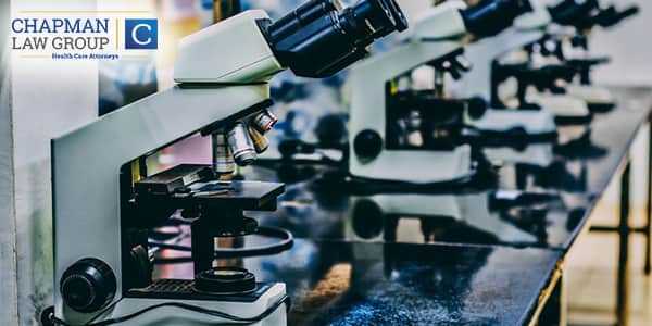Images of microscopes in a medical lab.