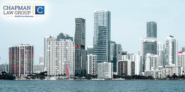The skyline of Miami where Chapman Law Group practices health care compliance law.