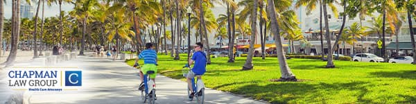 Image of two people riding bikes in Miami Florida where the health care attorneys of Chapman Law Group practice.