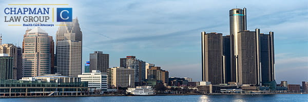 Image of the Detroit Michigan skyline durring the day, where Chapman Law Group practices