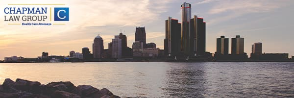 Image of the Detroit skyline where Chapman Law Group Health Care Attorneys practice.