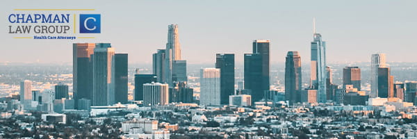 Image of LA skyline where Chapman Law Group practices health care law.