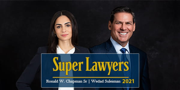 """Image of Chapman Law Groups own healthcare compliance, and healthcare litigation attorneys Ronald W. Chapman, and Wedad Suleiman in representation of their """"Super Lawyers"""" 2021 achievement."""